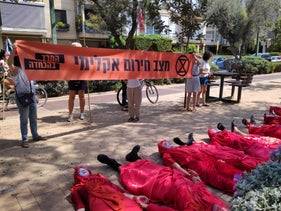Activists at a protest on climate change in Tel Aviv last week.