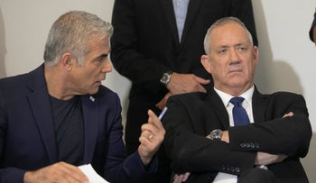 Benny Gantz and Yair Lapid during a press conference, September 19, 2019.