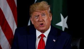Trump speaking to reporters ahead of a bilateral meeting with Pakistani Prime Minister Imran Khan, New York, September 24, 2019