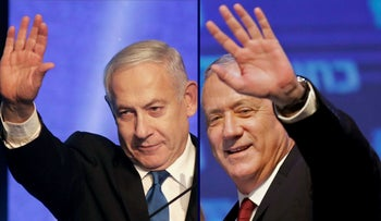 Combination picture shows Benjamin Netanyahu and Benny Gantz both addressing supporters early on September 18, 2019.