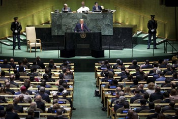 U.S. President Donald Trump addresses the United Nations General Assembly, New York City, September 24, 2019