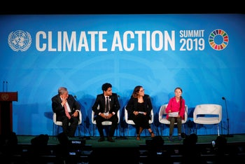 Greta Thunberg addresses the Climate Action Summit in the United Nations General Assembly, September 23, 2019.