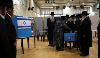 Ultra-Orthodox Jews vote in Bnei Brak, Israel, on September 17, 2019.