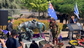 The dedication of 'The Aborigine and his Horse' at Tzemach, September 25, 2019.