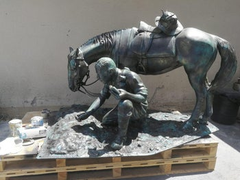 'The Aborigine and his Horse' was created using 3-D printing techniques.