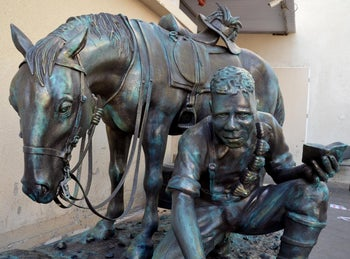 A view of 'The Aborigine and his Horse' at the dedication ceremony in Tzemach, September 25, 2019.