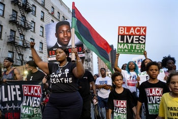 Activists with Black Lives Matter protesting in the Harlem neighborhood of New York, July 16, 2019.