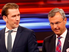 People's Party top candidate Sebastian Kurz and Freedom Party top candidate Norbert Hofer wait for the start of a TV discussion in Vienna, Austria, September 18, 2019