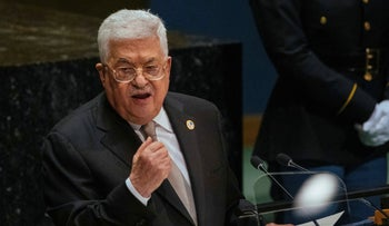 Palestinian President Mahmoud Abbas addresses the United Nations General Assembly at U.N. headquarters, September 26, 2019.