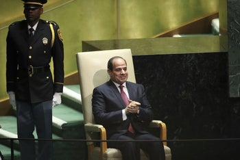 Egyptian President Abdel-Fatah al-Sissiwaits to take the stage to address the United Nations General Assembly at the UN headquarters in New York City,on September 24, 2019.