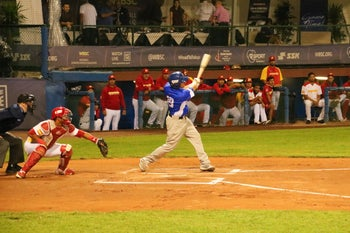 Danny Valencia batting in Israel's 3-0 victory over Spain in the Olympic qualifiers, Bologna, Italy, September 18, 2019.