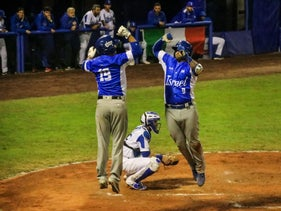 Players on Team Israel celebrating during an 8-2 defeat of Italy in the baseball qualifiers for the 2020 Olympics, Parma, Italy, September 20, 2019.