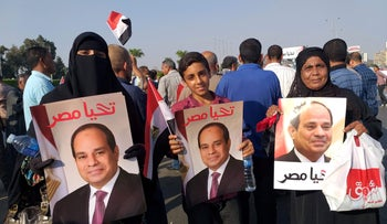 Supporters of Egyptian President Abdel Fattah al-Sissi rally near the Unknown Soldier Memorial in Egypt's capital Cairo's eastern Nasr City district, September 27, 2019.