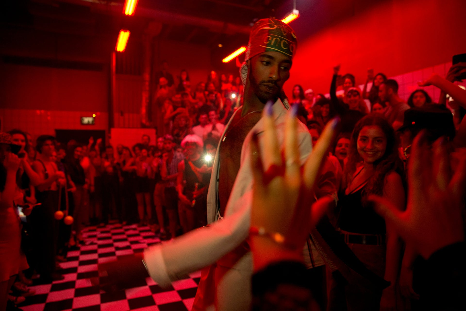 A competitor participating in the walking the runway category at the Alphabet Club ball in Tel Aviv, September 26, 2019.