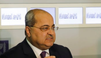 Member of the Joint List Ahmad Tibi speaks to the press following a meeting with Israeli President Reuven Rivlin, in Jerusalem, Sunday, September 22, 2019.