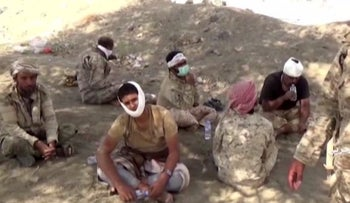 Image taken from a video released by the Huthi rebels fighting the Saudi coalition in Yemen, on September 29, 2019, allegedly shows detained men near the southern Saudi region of Najran.