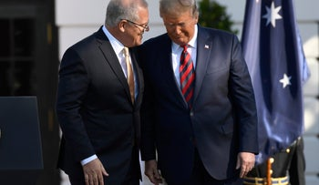 Donald Trump speaks with Australian Prime Minister Scott Morrison during a state arrival ceremony on the South Lawn of the White House in Washington, September 20, 2019.
