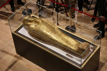 The golden coffin that once held the mummy of Nedjemankh, a priest in the Ptolemaic Period some 2,000 years ago, Cairo, October 1, 2019.