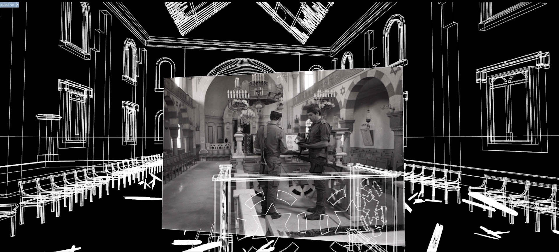 Photos and artwork in Dor Zlekha Levy's 2019 exhibition on the Magen Avraham Synagogue in Beirut.