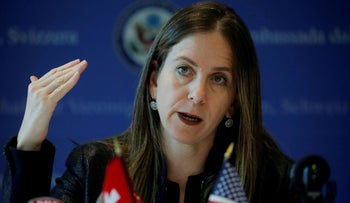 U.S. Treasury Under Secretary for Terrorism and Financial Intelligence Sigal Mandelker addresses a press roundtable at the U.S. embassy in Bern, Switzerland September 10, 2019.