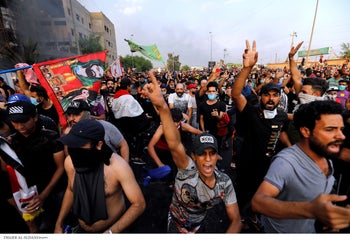 Demonstrations in Iraq's capital city of Baghdad, October 2, 2019.