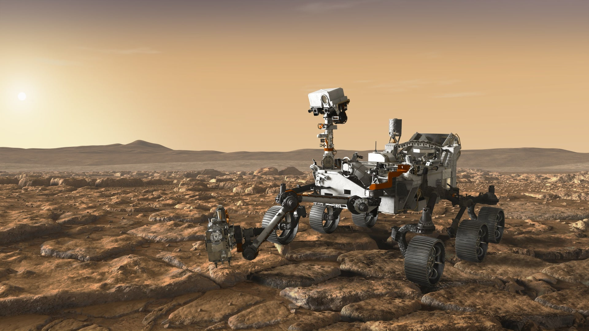 """A depiction of NASA's """"Mars 2020"""" rover on duty."""