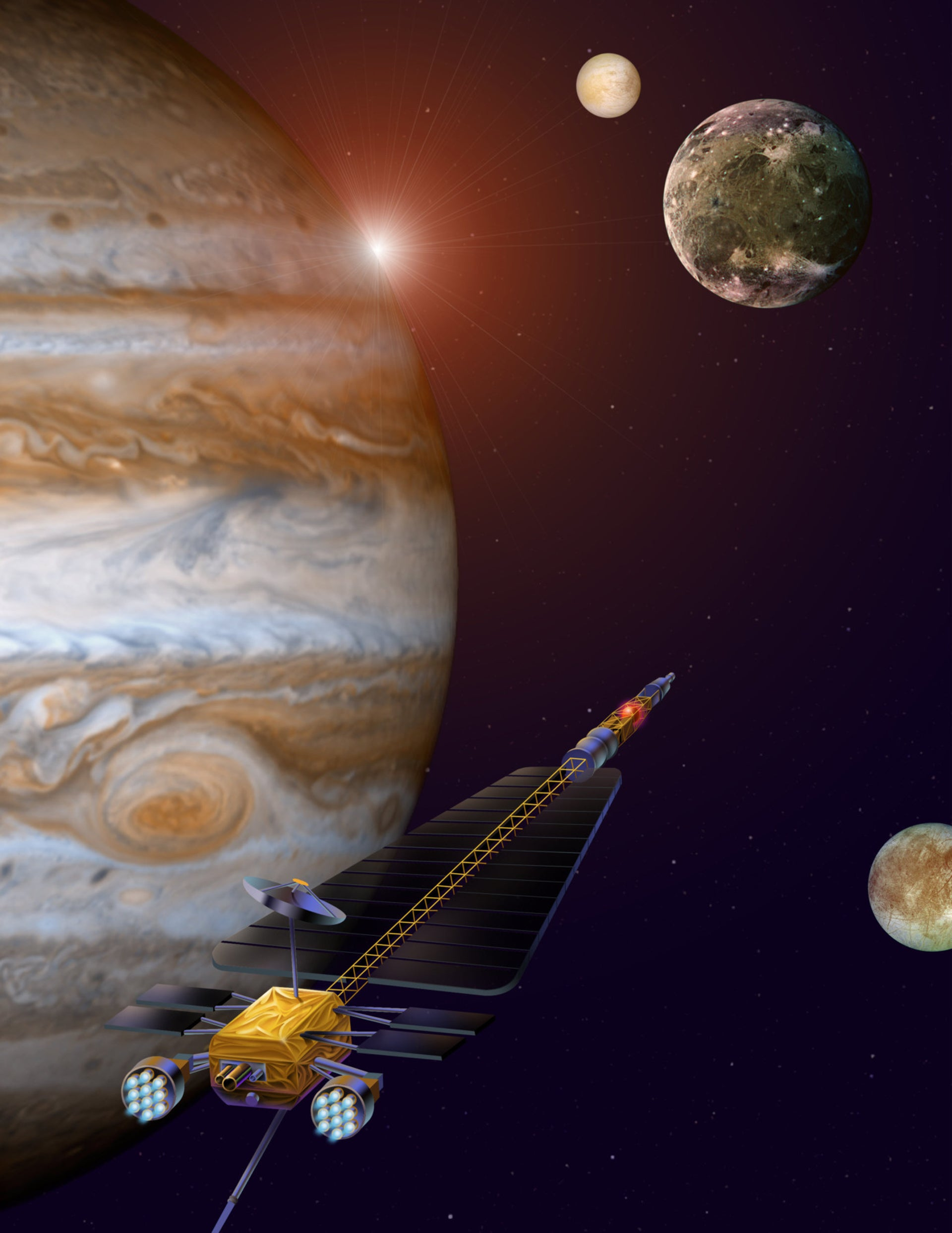 Artist's concept illustration of the Jupiter Icy Moons Orbiter, a cancelled unmanned NASA exploration craft.