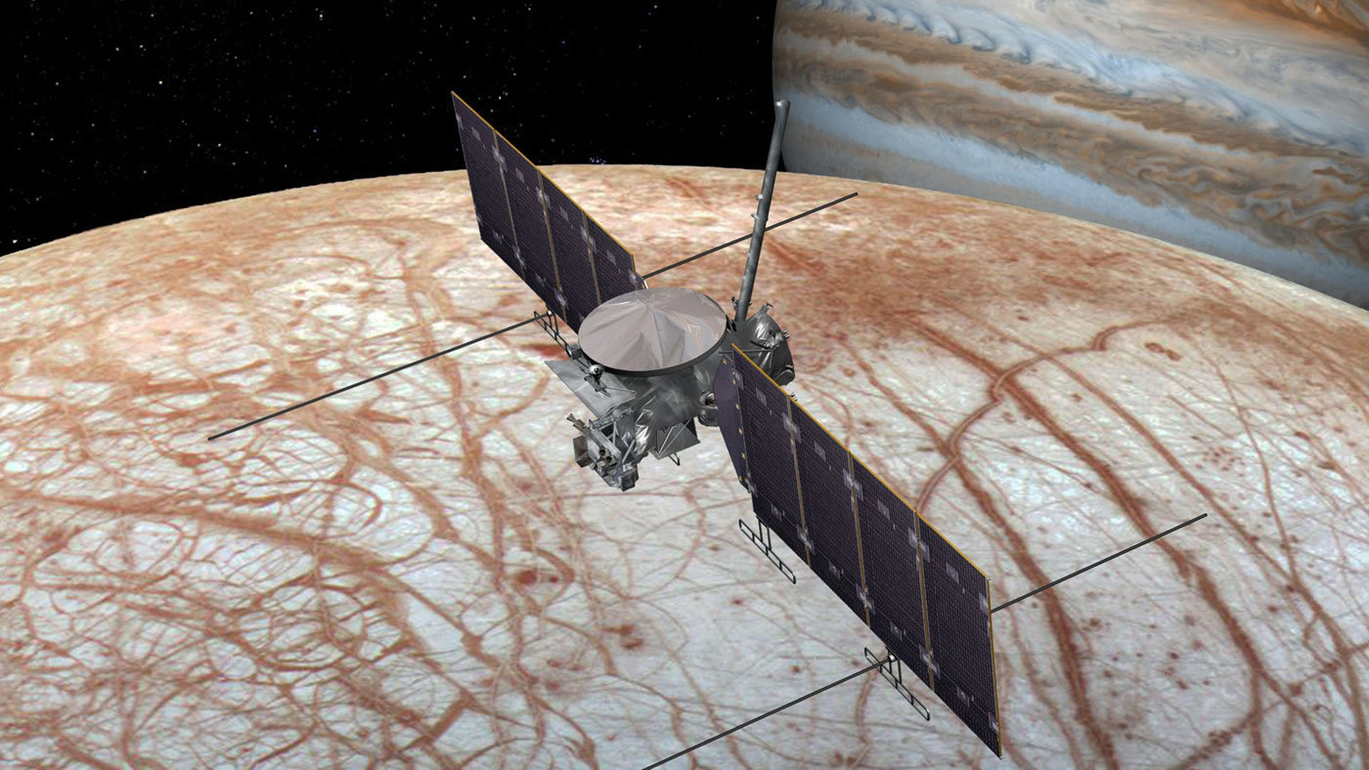 A 2016 artist's concept of the Europa Clipper spacecraft. The design is changing as the spacecraft is developed.