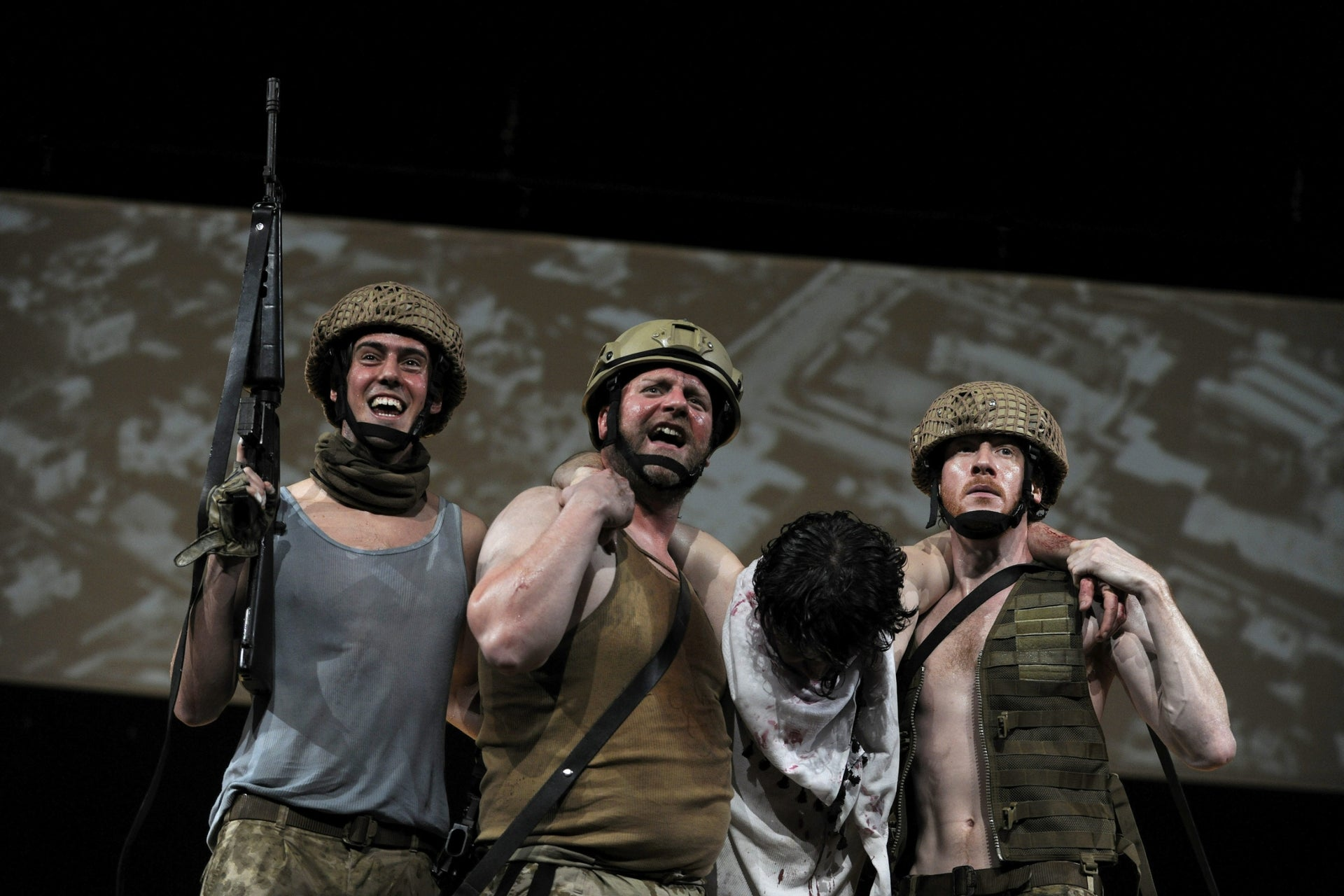 """A German production of Hanoch Levin's """"Murder,"""" staged by the Dusseldorf Theater Company in 2015."""