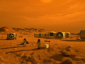 This artist's concept depicts astronauts and human habitats on Mars. NASA's Mars 2020 rover will carry a number of technologies that could make Mars safer and easier to explore for humans.