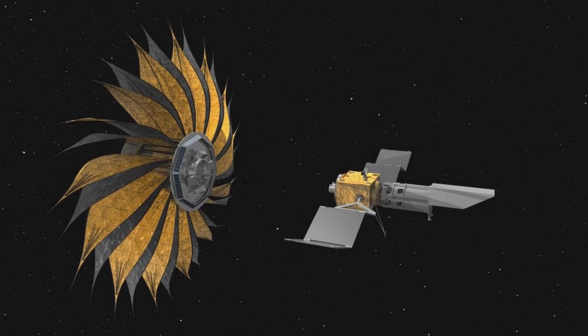 This rendering shows the proposed starshade concept flying in sync with a space telescope. The giant structure would be used to acquire images of Earth-like rocky planets around nearby stars.