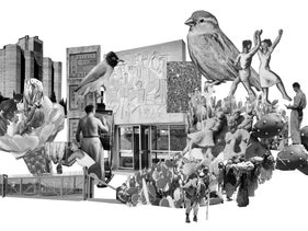 'Cultural scenery' by Itai Raveh, combining old pieces of wall art with pictures of birds, 'Murals' exhibition in Holon