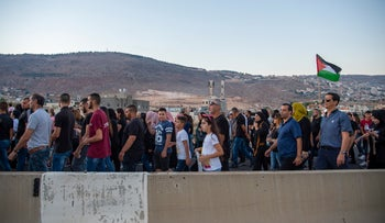 Israeli Arabs protest against police inaction in Majdal Krum, October 3, 2019.