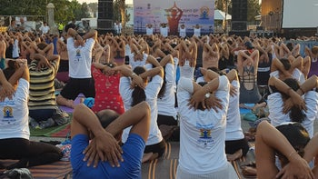 Participants in the International Yoga Day in Tel Aviv, June 2019.