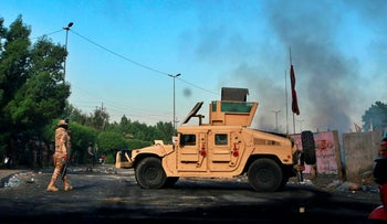 Iraqi Army troops deploy at a site of protests in Baghdad, Iraq, October 6, 2019.