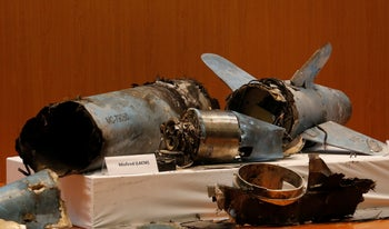 Remains of what was described as a misfired Iranian cruise missile used in the attack on Saudi oil facilities, September 18, 2019.