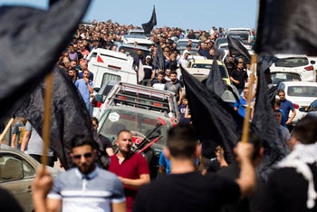 Thousands protest Israel's failure to address violence in the Arab community, Umm al-Fahm, October 5, 2019.