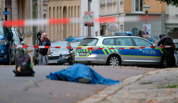 Scene of attack near synagogue in Halle, Germany, October 9, 2019
