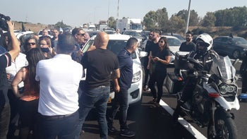 Convoys heading for Jerusalem to protest police failure to handle violent crime in the Arab society, October 10, 2019.