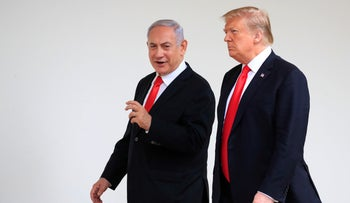 U.S. President Donald Trump and Prime Minister Benjamin Netanyahu at the White House in Washington, August 21, 2019.