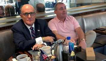 Rudy Giuliani has coffee with Ukrainian-American businessman Lev Parnas in Washington, U.S. September 20, 2019.