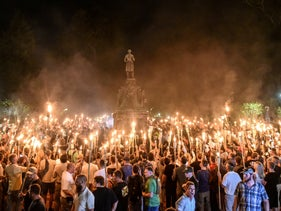 """The Unite the Right rally of right-wing extremists in Charlottesville, Virginia, in August 2017. """"Jews will not replace us,"""" the marchers chanted."""