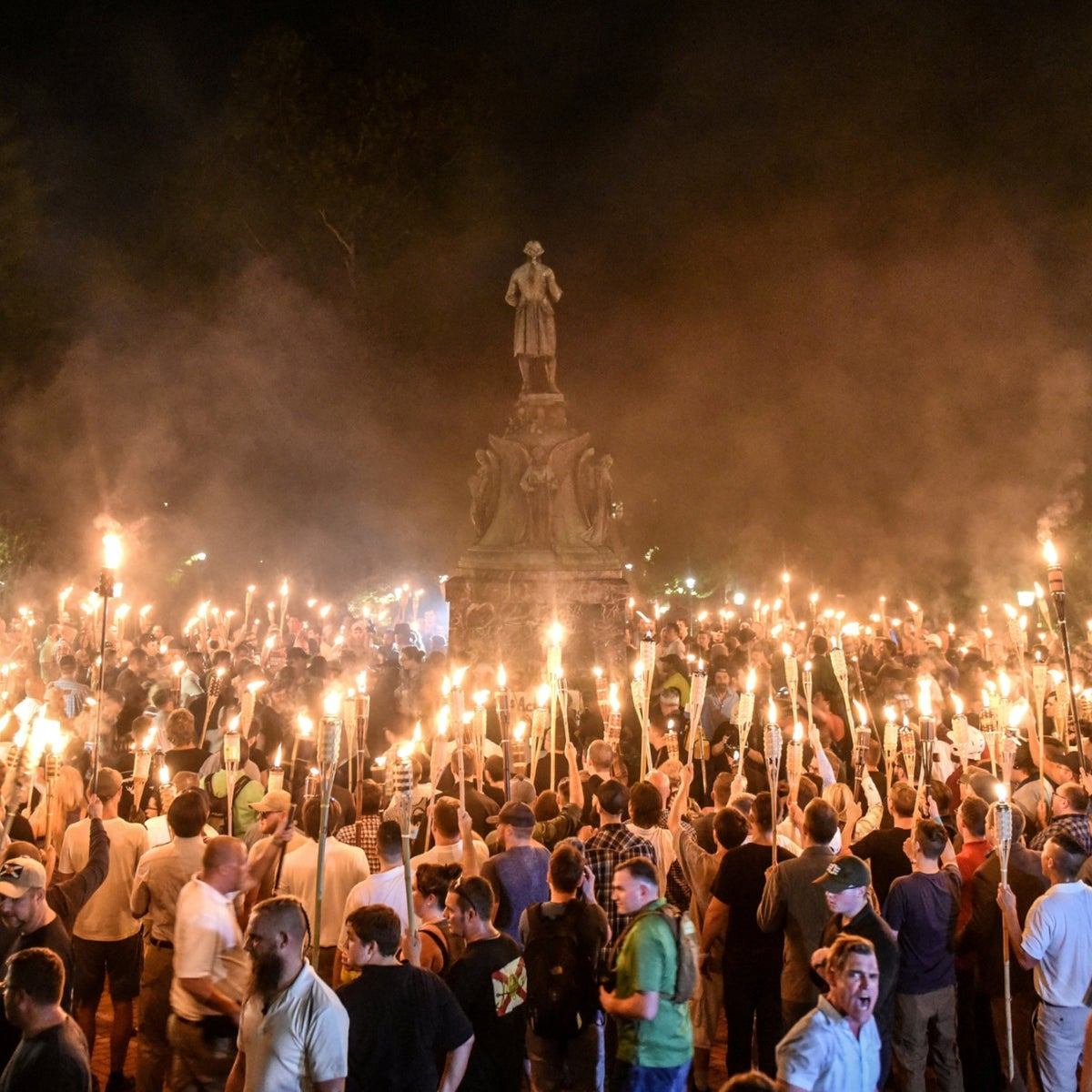 "The Unite the Right rally of right-wing extremists in Charlottesville, Virginia, in August 2017. ""Jews will not replace us,"" the marchers chanted."