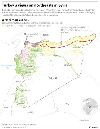 Areas of control in Syria.