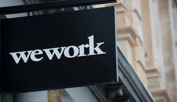 WeWork logo displayed outside of a co-working space in New York City, January 8, 2019.