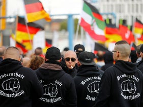 "Far-right protesters demonstrate in Berlin, Germany, October 3, 2019. The hoodies read ""Brotherhood Germany."""