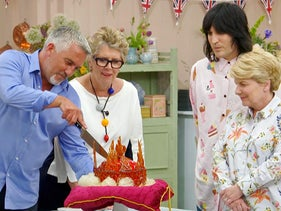 """Noel Fielding, Sandi Toksvig, Prue Leith, and Paul Hollywood in """"The Great British Bake Off."""""""