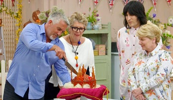 "Noel Fielding, Sandi Toksvig, Prue Leith, and Paul Hollywood in ""The Great British Bake Off."""