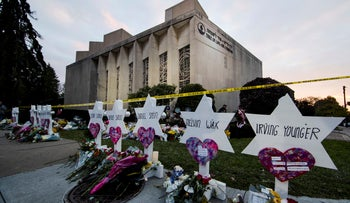 A memorial stands outside the Tree of Life Synagogue in the aftermath of a deadly shooting in Pittsburgh, October 29, 2018.