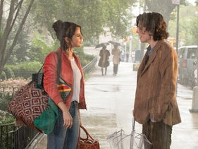 "Timothée Chalamet and Selena Gomez in ""A Rainy Day in New York."""